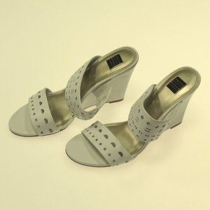 New WHBM White Two Strap Wedges size 8.5